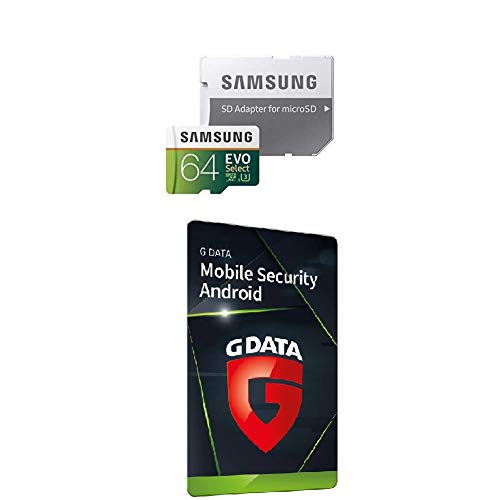 Samsung MB-ME64GA/EU EVO Select 64 GB microSDXC UHS-I U3 Speicherkarte inkl. SD-Adapter Weiß/Grun + G DATA Mobile Security Android 2020 | 1 Gerät, Aktivierungscode in frustfreier Verpackung