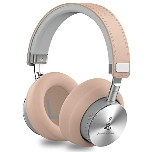Miracle&Lesoul A7 Over Ear Bluetooth Headphones with Mic,Wireless and Wired Hi-Fi Stereo Bass Foldable Headset, Soft Memory-Protein Earmuffs, 25 Hours Playtime for Trave/Work/Laptop/PC/Phone,Natural