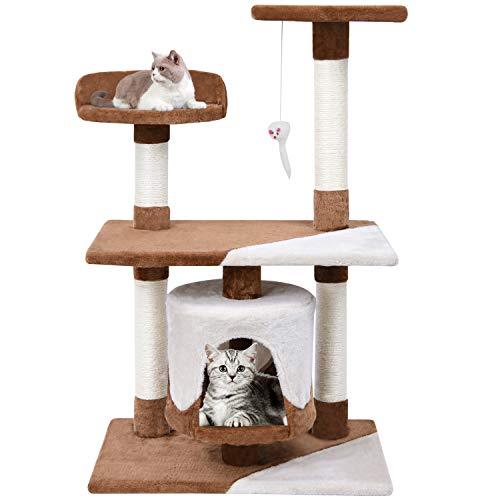 MC Star Zweifarbig kratzbaum für Katzen Katzenkratzbaum 95cm hoch Stabil für Erwachsene Katzen mit Sisal-Kratzstangen Multi-Plattform und Höhle, Braun und Beige