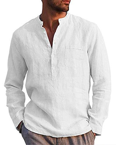 AUDATE Leinenhemd Herren Henley Shirt Herren Freizeithemden Langarm Hemd Baumwollehemd Shirt Weiß L