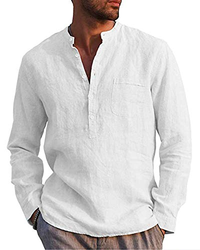AUDATE Leinenhemd Herren Henley Shirt Herren Freizeithemden Langarm Hemd Baumwollehemd Shirt Weiß M