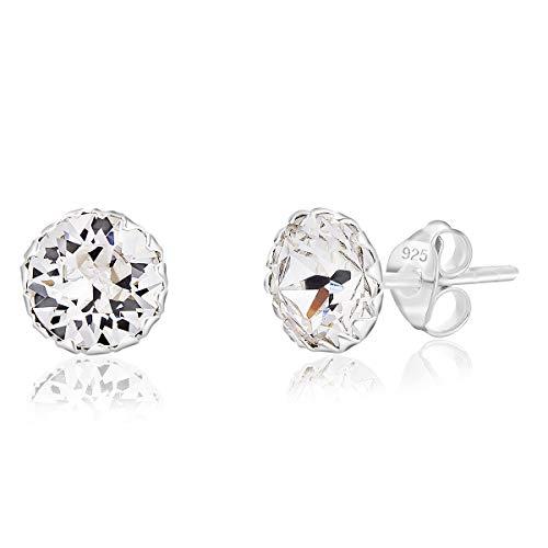 DTPSilver - Damen Ohrringe 925 Sterling Silber mit Kristallen von Swarovski® Elements 6 mm Runde Ohrstecker - Farbe : klare Kristalle