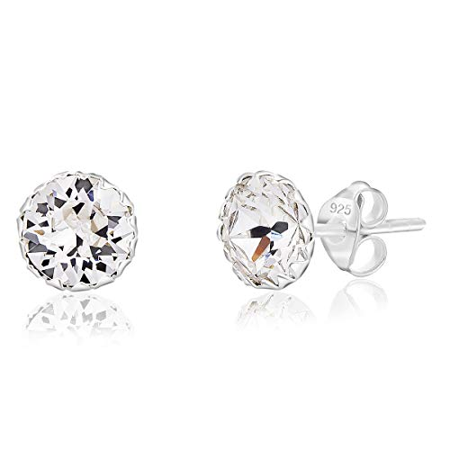 DTPSilver - 925 Sterling Silver Round Stud Earrings and Glittering Crystals from Swarovski Elements - Diameter: 6 mm - Colour : Clear Crystal