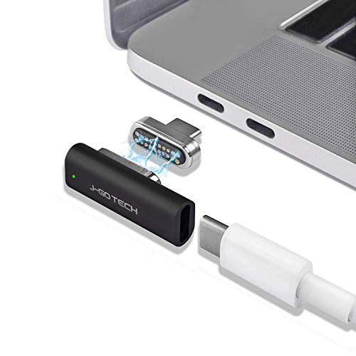 USB C Magnetic Adapter by J-Go Tech | USB 3.1 Gen2 10Gb/s, 100W PD (20V/5A) Fast Charge | 4K Video @ 60Hz HD Display | Compatible with MacBook Pro/Pixelbook/Dell XPS