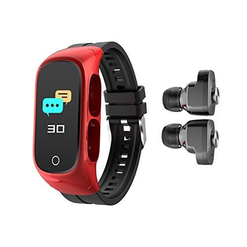Pulsera inteligente WuMei101, auricular Bluetooth, llamada Bluetooth dos en uno, múltiples modos de deporte, control de frecuencia cardíaca y presión arterial (color: rojo)