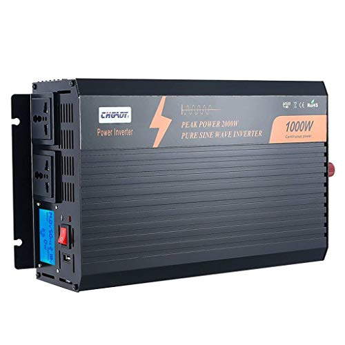SLOUD 1000W Car Power Inverter,Pure Sine Wave Power Inverter,12-48V DC to 110-220V AC Converter with 3.1A USB Car Charger,for Home RV Truck-12v to 110v