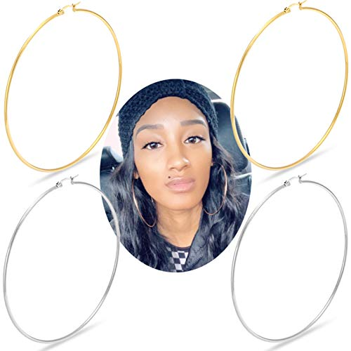 Huge Gold Hoop Earrings for Women - Plated 10k Gold Stainless Steel Hooped Earrings for Women, 70-100mm Large Gold Hoop Earrings