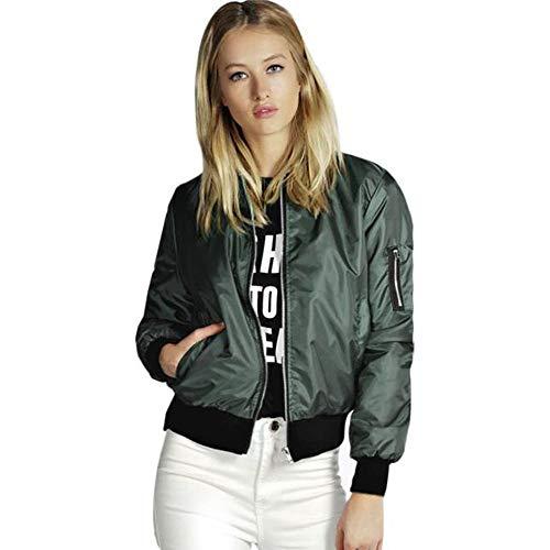 KaloryWee Bomber Jacket Womens Vintage Classic Zip Up Biker Jacket Stylish Short Padded Coat with Pockets Ladies Casual Jackets Green