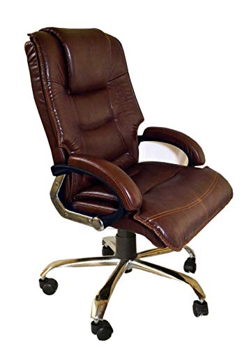 ROAR-WOOD High Back Brown Cushioned Leatherette Executive Boss, Director, Manager, Study, Desk Chair, Gaming Special Office Revolving 360 Fully Adjustable Chair with Extra Comfort Classicy Finishing