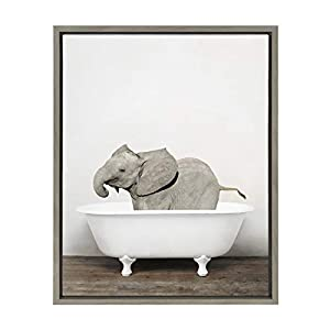 Kate and Laurel Sylvie Baby Elephant in The Tub Framed Canvas Wall Art by Amy Peterson, 18x24 Gray