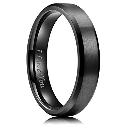 King Will 5mm Stainless Steel Ring Black Plated Matte Finish&Polished Beveled Edge with Laser Etched I Love You 7.5