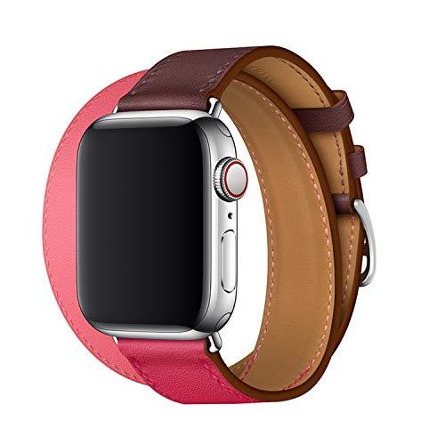 XCool Cinturino Apple Watch 42mm 44mm, Pelle Blu Arancia Double Tour per Donna Uomo per iwatch Serie 4 Serie 3 Serie 2 Serie 1
