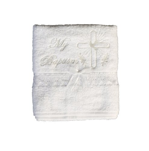 Christening Towel with Embroidered Cross and Lace Trim Baptism - English White