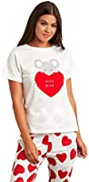 Heart Graphic Printed T-shirt and Cuff Pyjama Set For Women