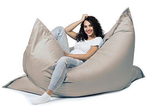 sunnypillow XL Sitzsack, Riesensitzsack Outdoor & Indoor 100 x 150 cm mit 140L Styropor Füllung Sessel für Kinder & Erwachsene Sitzkissen Sofa Beanbag viele Farben und Größen zur Auswahl Grau