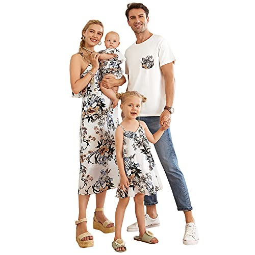 Mumetaz Family Matching Outfits Mommy and Me Dresses Chiffon Floral Print V-Neck Ruffle Summer Clothes