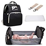 3 in 1 Diaper Bag Backpack with Changing Station,Travel Bassinet Foldable Baby Bed, Mommy Bag Backpack with Bed, Large Capacity, Waterproof (Black)