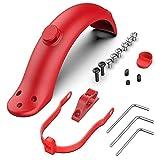 Hianjoo Guardabarros Defensa Compatible con Xiaomi M365 / M365 Pro, Soporte para Trasero Accesorio de Repuesto para Scooter Eléctrico Gancho Delantero con Tapas de Tornillos y Llave Allen (Rojo)
