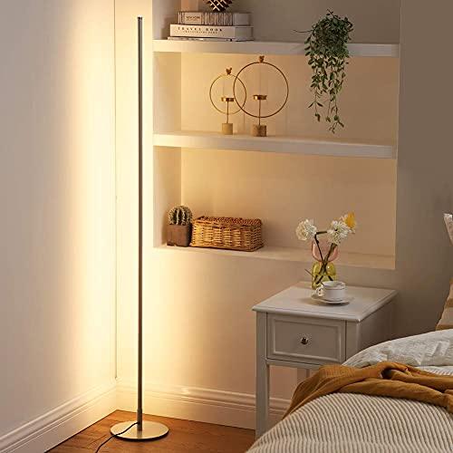 EDISHINE Lámpara de pie LED regulable, lámpara de pie para salón, 3000 K blanco cálido, lámpara de pie moderna con interruptor de pie, columna de luz de 146 cm para salón, dormitorio y oficina