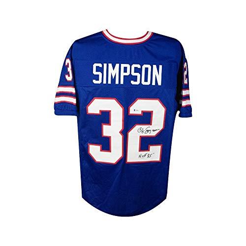OJ Simpson HOF 85 Autographed Buffalo Bills Custom Football Jersey - BAS COA
