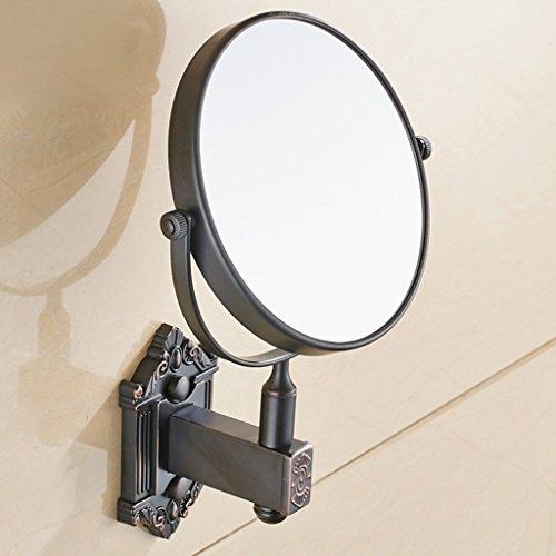 KKY-ENTER Retro Sided Agrandir Beauty Mirror Hotel Miroir de maquillage de salle de bain Salle de bain pliante Miroir télescopique mural (Couleur : Noir)
