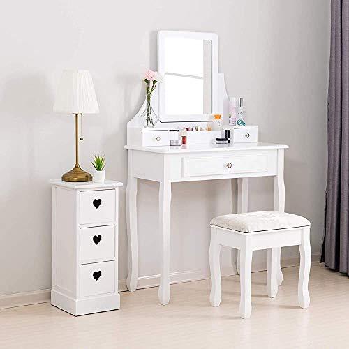 Dormitorio moderno con tocador y espejo lateral de taburete, aparador de niña, color blanco, 3 cajones