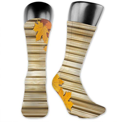 Compression Medium Calf Socks,Fallen Leaves On Wooden Wall September Foliage Rustic Style Print