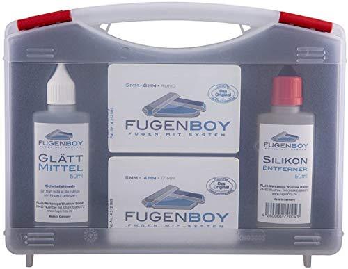 Fugenboy® Profi-Koffer - Silikon Fugenwerkzeug Basis-Kit Made in Germany | Enthält Silikon-Entferner, 6x Fugenglätter und Silikon Glättmittel |Patentrechtlich geschütztes Silikonfugen Werkzeug
