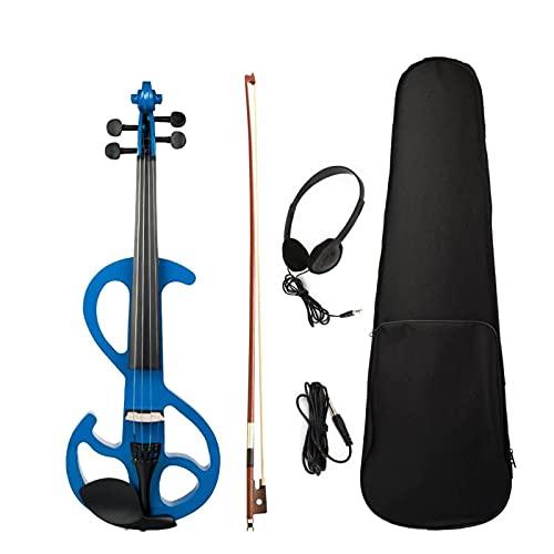 KEPOHK Violín eléctrico 4/4 violín electrónico 4/4 violín eléctrico arce cuerpo diapasón clavijas instrumentos musicales con estuche azul