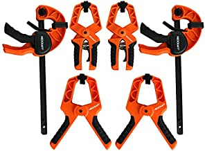 Bar Clamp Set (Pack of 6) - - Quick Grip Ratchet Clamp for Woodworking, Carpentry, Home Improvement - Adjustable Bar Clamps and Spring Clamps with Removable Jaw Pads by Neocraft