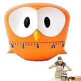 xiton 1 pc timer simpatico cartone animato gufo mini 60 minuti meccanico da cucina timer di cottura orologio forte allarmi contatori timer da cucina manuale (arancione)