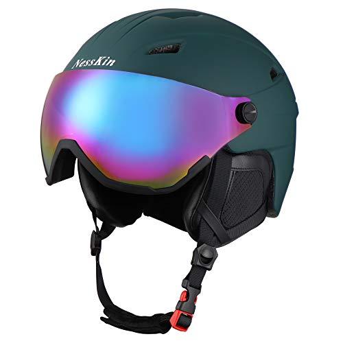 NESSKIN Ski Helmet Integrally-Molded Snowboard Helmet for 8-16 Age, Detachable Ski Goggles