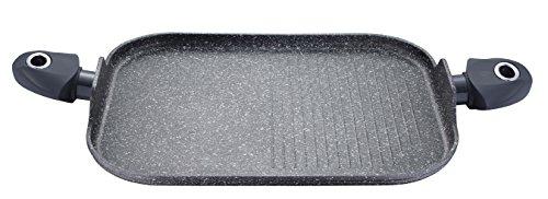 Induktion Grillpfanne Grillplatte Pfanne Steakpfanne Bratpfanne Pfannen eckig aus Aluminiumguss (Maße ca.: Länge 36 cm x Breite 24 cm + Marmorbeschichtung)