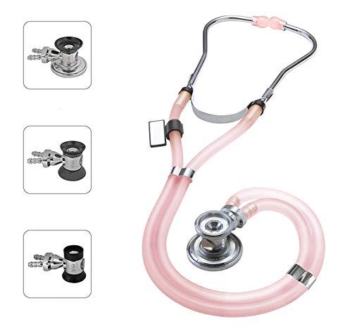 MDF® Sprague Rappaport Zweikopf-Stethoskop mit austauschbarem Bruststück für Erwachsene, Kinderärzte und Säuglinge - Gratis-Parts-for-Life & Lebenslange-Garantie -Rosa-lichtdurchlässig (MDF767-ICO)