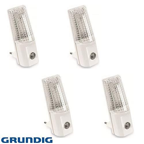 4x GRUNDIG 3 LED's nachtlampje nachtlampje traplicht stopcontactlamp met schemeringssensor