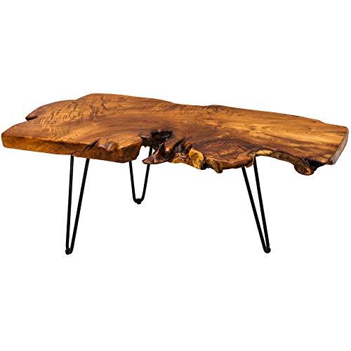Riess Ambiente Massiver Couchtisch WILD 100cm Teak Massivholz Baumscheibe Hairpin Legs Wohnzimmertisch Holztisch