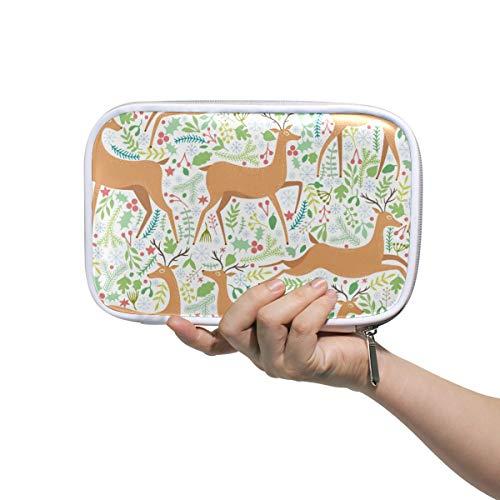 Große PU Leder Federmäppchen Tasche Cartoon Hirsch und Pflanzen Kosmetik Reisepass Multifunktionstasche mit Reißverschluss Büro Schreibwaren für Kinder, Teenager, Mädchen, Frauen