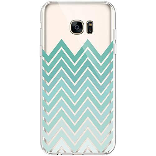 Hpory Funda para Samsung Galaxy S7 Edge, Ultra Fina Suave TPU Silicona Transparente Flexible Trasera Bumper Protección Funda Case Cover Cáscara Carcasa para Samsung Galaxy S7 Edge - Curva Verde