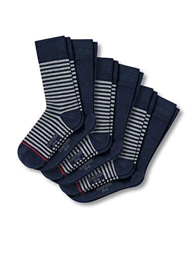 Schiesser Herren Multipack Herrensocken (6Pack) Socken, Blau (Dunkelblau/Stripes 803), 39/42 (6er Pack)