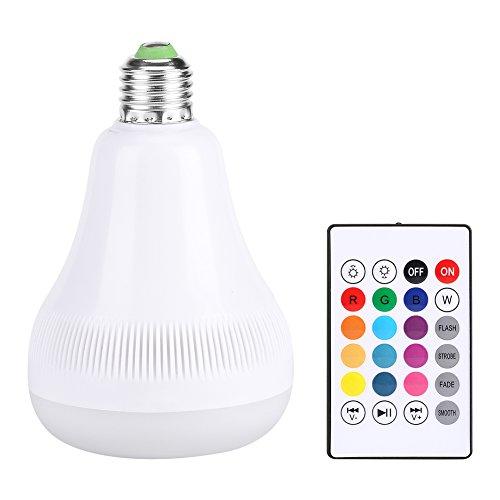 Zerodis Bluetooth Glühlampe Lautsprecher, 18W RGB E27 Farbwechsel LED Musiklampe mit drahtloser Fernbedienung