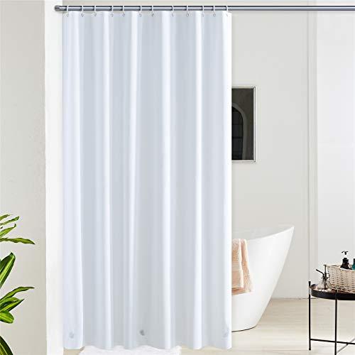 Furlinic Duschvorhang Überlänge Anti-schimmel Wasserdicht Badvorhang aus Eva 180cm Breit 240cm Hoch Weiß mit 12 Duschvorhangringen Saum mit Steinen.