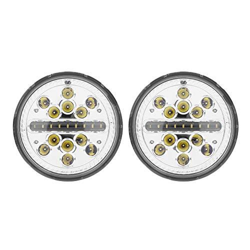 Auto LED koplamp, 1 paar 7 inch 60W auto LED koplamp ronde koplamp voor Wrangler JK TJ CJ Lada(Without aperture)
