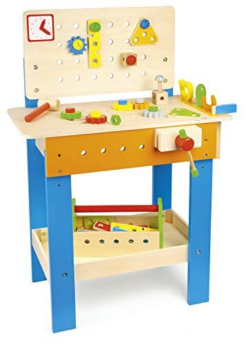 Leomark Spielwerkbank aus Holz < Werkbank mit Zubehör 38 TLG > Hölzerne für Kinder, Werkstatt mit Werkzeuge und mit dem tragbaren Kasten, Kreativspielzeug, Höhe: 81 cm