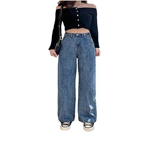 Femme Jeans Taille Haute Vêtements Jambe Large Denim Vêtements Bleu Streetwear Vintage Qualité 2020 Mode Harajuku Straight Pantalon - Bleu - S