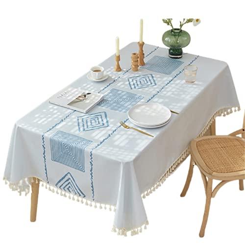 Patrón Geométrico Azul-Mantel Antiincrustante Rectangular-Poliéster Impermeable Y Repelente Al Aceite Mantel Rectangular De Cocina-Adecuado Para Cafés-Decoración De Jardín Al Aire Libre 130x200cm