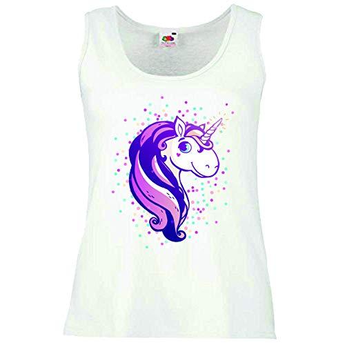Reifen-Markt Camiseta sin mangas con diseño de unicornio, unicornio mítico, caballo, cabra, emoji, licorne, unicornio, mito, medieval, cuerno sin mangas, en color blanco Blanco X-Small