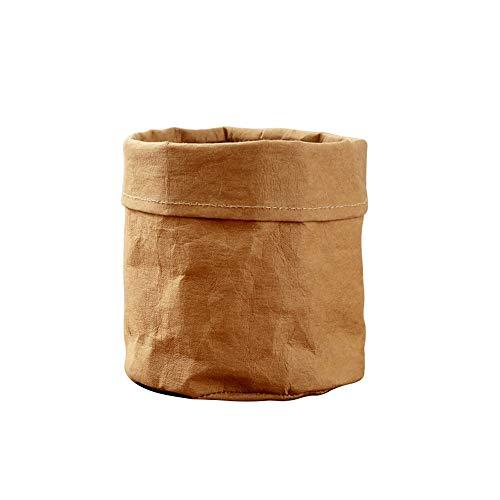 DIYARTS Bolsa Almacenamiento Papel Kraft Multifunción Bolsa Decoración Plantas Escritorio Lavable Bolsa Reutilizable Contenedor para Almacenamiento en el Hogar (Brown-M)