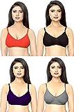 DeVry Women Non Padded Non-Wired Bra (Pack of 4) (tshirtbra228_34_Multicolored_34)