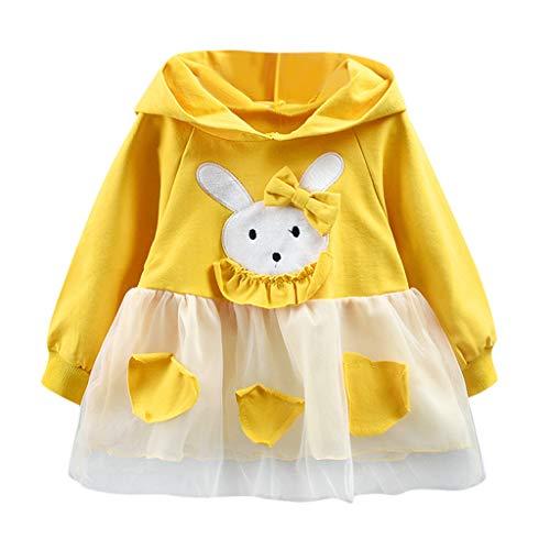Proumy Baby Mädchen Kleidung Kinder Mädchen Cartoon Bunny Langärmliges Kapuzen Kleid Kleid Baby Geburtstag Tüllkleid Mädchen Tüllrock (Gelb,Recommended Age:6-12 Months)