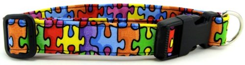 K9 Bytes Autism Awareness Puzzle Soft Adjustable Dog Collar with Quick Release Buckle Medium